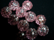 Vintage galactica pale pink silver acrylic jewellery beads