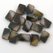 Rectangular Window Czech Striped White Topaz Glass Beads 12mm, 15 Pcs