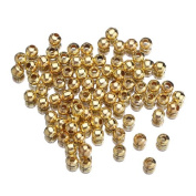 EOZY 50 Gramme Dark Golden Spacer Beads Findings Stardust Silver Plated Base Dia 5mm Round for Jewellery Making