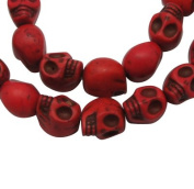 Skull Gemstone Beads Strand, Synthetic Howlite, Dyed Dark Red, Approx 29 Beads