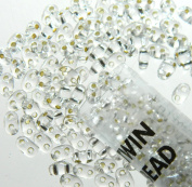 Crystal Clear Silver Lined 2.5x5mm 2 Hole Twin Beads Czech Glass Seed Beads 23 Gramme Tube
