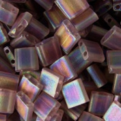 Dark Topaz Ab Transparent Matte Tila Beads 7.2 Gramme Tube By Miyuki Are a 2 Hole Flat Square Seed Bead 5x5mm 1.9mm Thick with .8mm Holes