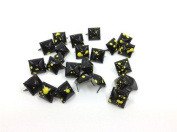 Nicedeco - DIY Accessories Painted Colourful Spot Pyramid Studs 100pcs 12MM BLACK Metal Claw Beads Nailhead Punk Stud Rivet Spike CellPhone Decoration Leathercraft