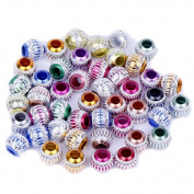 EOZY 50pcs Mixed Colours O-shape Carved Aluminium Beads Fit Jewellery Bracelet