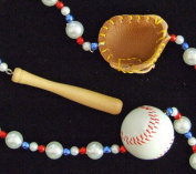 Baseball Mardi Gras Bead Glove Bat Ball Red White Blue