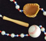 Baseball Mardi Gras Bead Glove Bat Ball Red White Blue