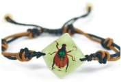 Shining Chafer Beetle Bracelet - Brown and Green Beetle in a Faceted Jewel Shaped White Background