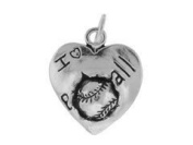 Sterling Silver I Love Baseball Charm