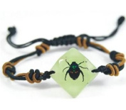 Lucky Chafer Beetle Bracelet - Small Green and Brown Beetle in a Faceted Jewel Shaped White Background