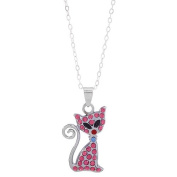 Sassy Kitty Cat Rhinestone Pendant Necklace