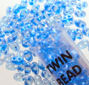 Blue Pearl 2.5x5mm 2 Hole Twin Beads Czech Glass Seed Beads 23 Gramme Tube