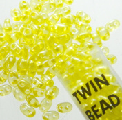 Yellow Lined 2.5x5mm 2 Hole Twin Beads Czech Glass Seed Beads 23 Gramme Tube