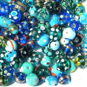 eCrafty EC-375 Jewellery Maker's Lampwork Crystal Bead Mix, 125gm, Aqua Blue Flowers Garden