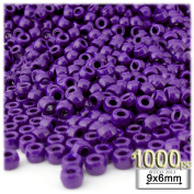 The Crafts Outlet 1000-Piece Plastic Round Opaque Pony Beads, 9 by 6mm, Dark Purple