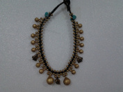 Brass Elephant Hemp Anklace, Gold Colour with Blue Beads