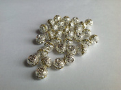 DUMAN 20pcs 10mm silver plated. Crystal band round beads Rondelle Spacer Charms Light Yellow