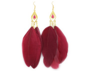 Large Vintage Ear Cuff Drop Feather Cartilage Earrings for Women g410-10 Red