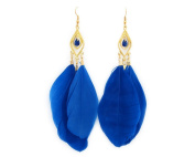 Large Vintage Ear Cuff Drop Feather Cartilage Earrings for Women g410-10 Blue