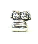 Antique Silver Plated Boy Girl Hug Bead Charm