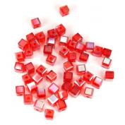 4mm Cube Leaded Crystal Bead - Red 'n Rad - 50pc