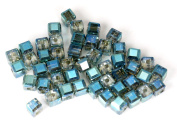 4mm Cube Leaded Crystal Bead - Bombarded by Blue - 50pc