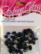 Black Glass Beads - Facet Black - 42 Count