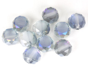 Crystal Rondelle Beads with Fire Polish - Clear Blue Skies - 12mm x 7.5mm