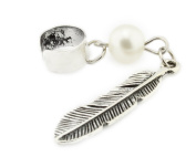 One Piece Personality Vintage Style Pearl Feathers Ear Cuff Earrings for Women
