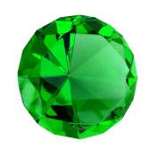 Giant Emerald Green Cut Glass Diamond Jewel