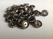 DUMAN 20pcs 12mm White. Crystal Bead Rhinestone Disc Silver Charms for Jewellery Making Black Silver