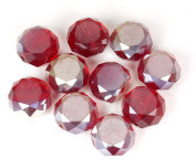 Crystal Rondelle Beads with Fire Polish - Rockin' Red - 12mm x 7.5mm