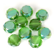 Crystal Rondelle Beads with Fire Polish - Minty Green - 12mm x 7.5mm