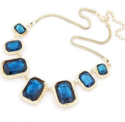 Vintage Glaring Diamond Crystal Blue Gemstone Pendant Short Necklace By U-Beauty