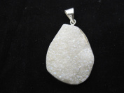 Agate Pendant Natural Druzy Agate Dyed White Colour with Silver Bezel Necklace Charms One Hook