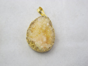 Agate Pendant Natural Druzy Agate Dyed Yellow Colour with Gold Bezel Necklace Charms One Hook