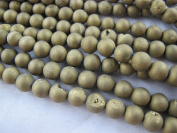 46pcs Druzy Agate Round 8mm 15.5''strand Gold Colour Finding Charms Necklace Bracelet Beads