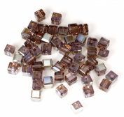 4mm Cube Leaded Crystal Bead - Bronze and Bold - 50pc