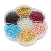 Jewellery Making Colour Glass Pearl Pearlescent Beads Box Set , 4mm Round, 1050 Pcs