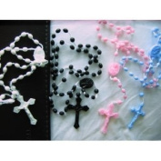 Rosarybeads2u 6 White Black Pink Blue Prison Issue Plastic Rosary Beads
