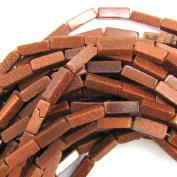 """4x13mm goldstone side tube beads 16"""" strand"""