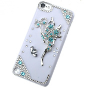 3D Bling Sky Blue Butterfly Crystal White Case Cover for Apple Ipod Touch 5