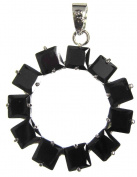 Bead Collection 41267 Cubic Zirconia Black Round with 11 Stones Pendant