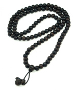 8mm LUOS 108 Black Wood Beads Tibet Buddhist Prayer Mala Necklace - 230A