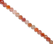 carnelian faceted round beads, 8mm, sold per 16-inch strand.