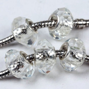 5 White Crystal Glass Faceted Big Hole Beads Charm C63