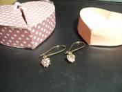 Wire Heart Drop Earrings in Heart Box Pink