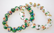 Cloisonne Beads Bracelets - White or Green