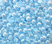 LOVEKITTY TM 600 Pcs AB Light Blue Mixed Sizes Flatback Pearl Cabochons