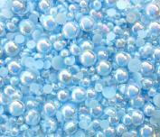 LOVEKITTY TM 600 Pcs AB Light Blue Mixed Sizes Flatback Pearl Cabochons