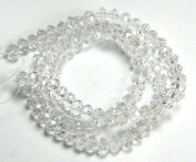 6x4mm Lustre Crystal Glass Faceted Fluted Fluted Machine Cut Rondelle Beads. Approx 100 Piece 16 Inches of Beads